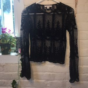 Thick Black Lace Blouse